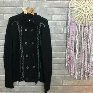free people // military style sweater jacket l